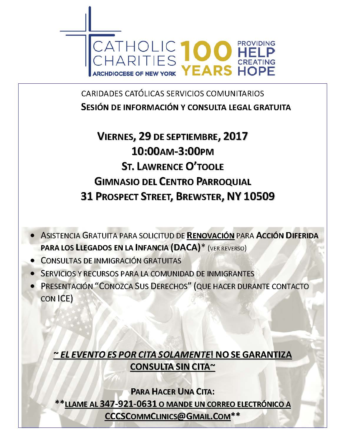 Catholic Charities Immigration Legal Services Information